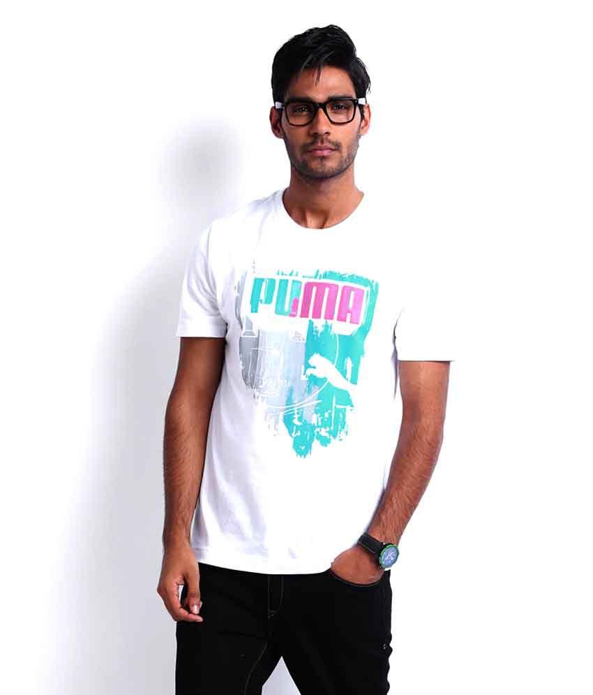 Puma White Printed T Shirt
