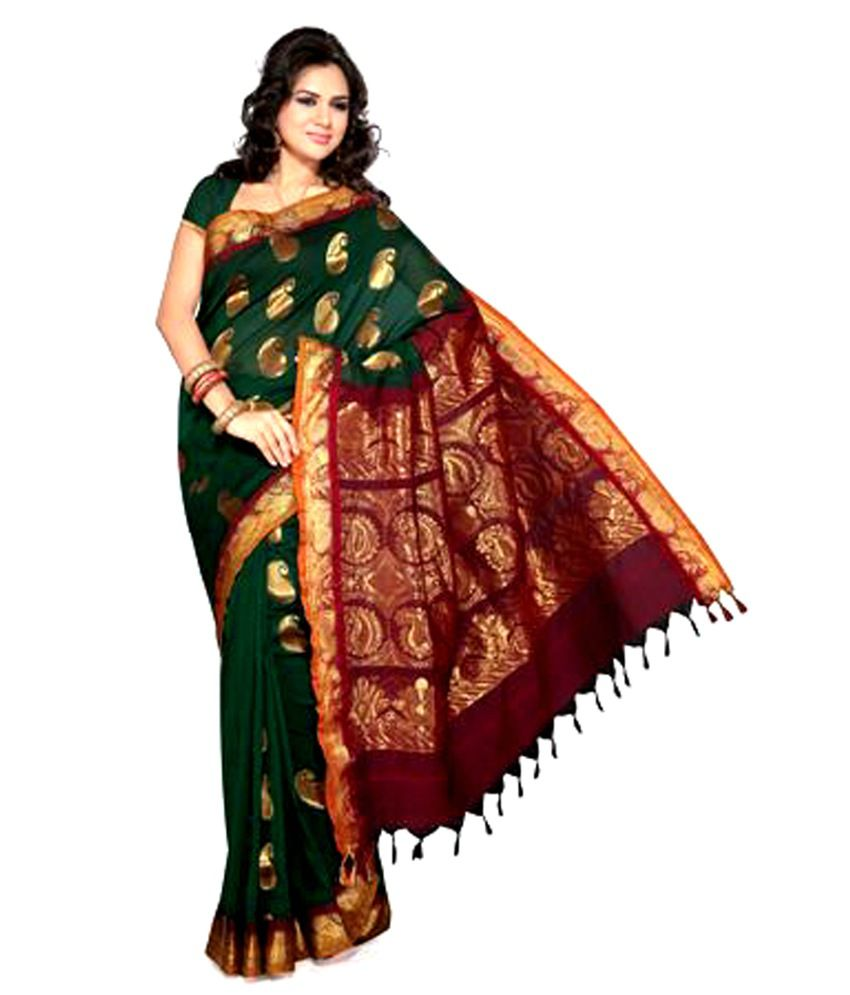 Ishin Green Cotton Saree Buy Ishin Green Cotton Saree
