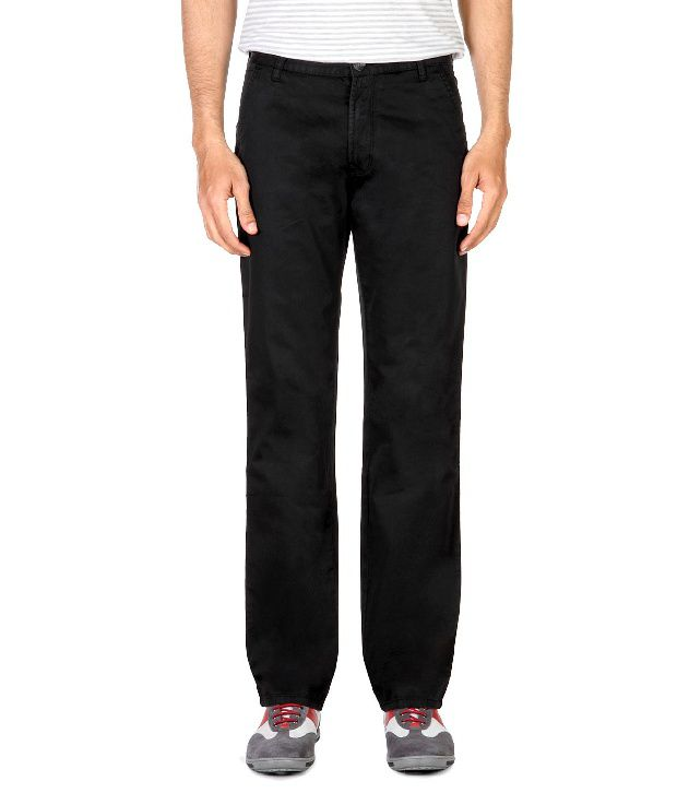 Peter England Black Flat Front Cotton Trousers