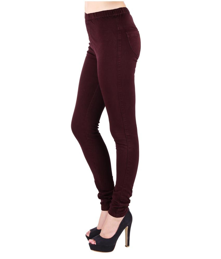47fb7aa29a094 Buy 20D Burgundy Blast Jeggings Online at Best Prices in India ...