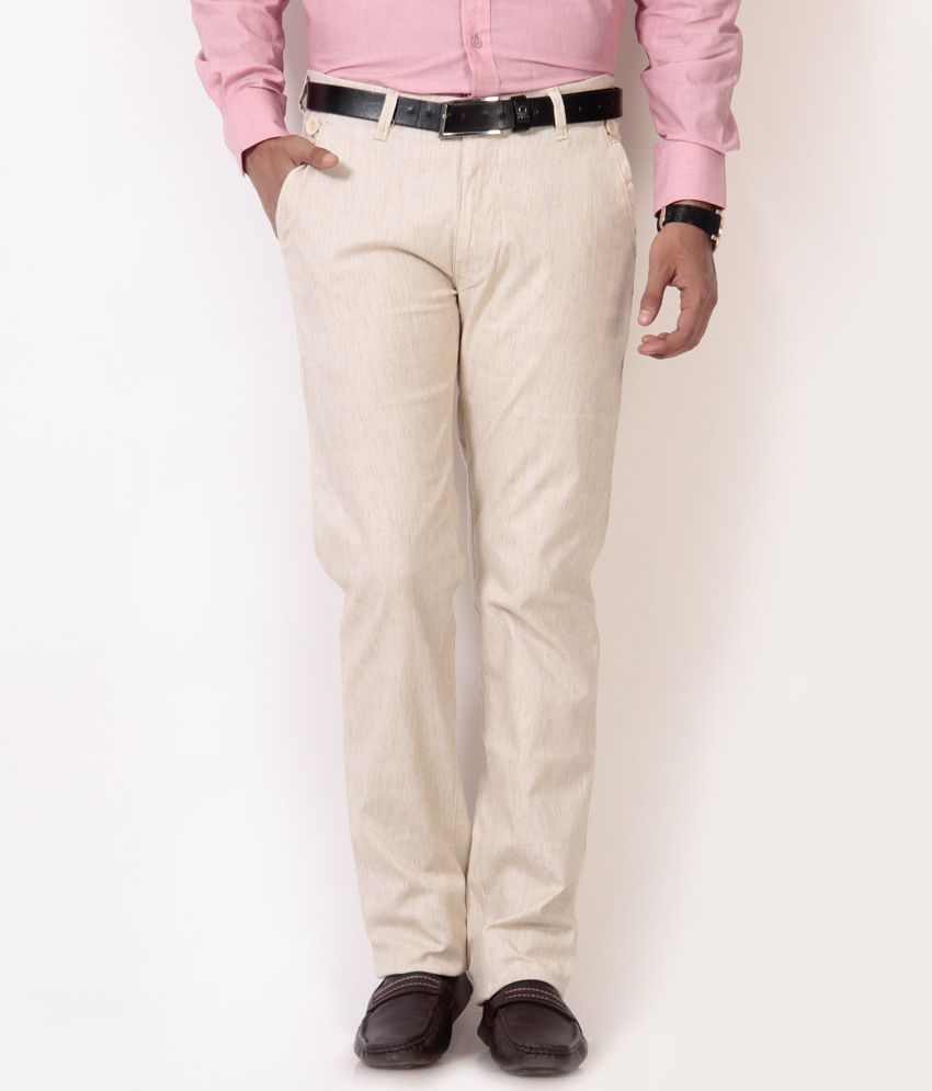 British Terminal Cream Linen Lycra Chinos