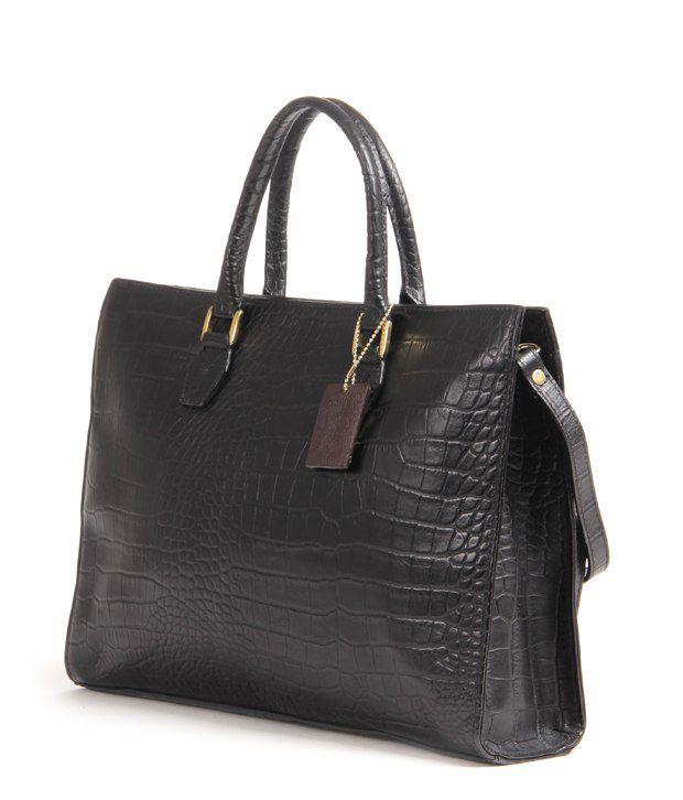 Hidesign Kester-Croco Black Satchel Bag - Buy Hidesign Kester-Croco ... 2506690a5a
