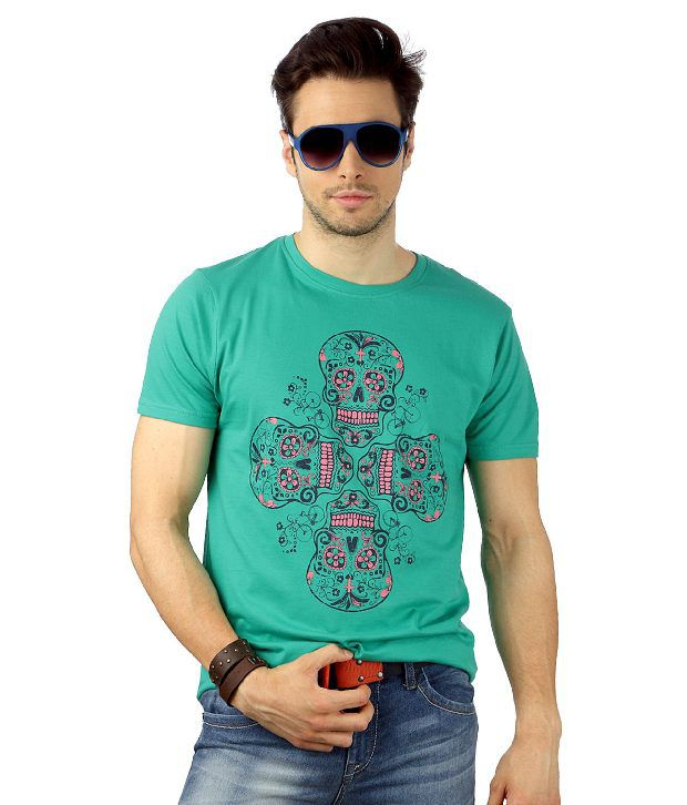 People Green Half Sleeves Printed T-Shirt
