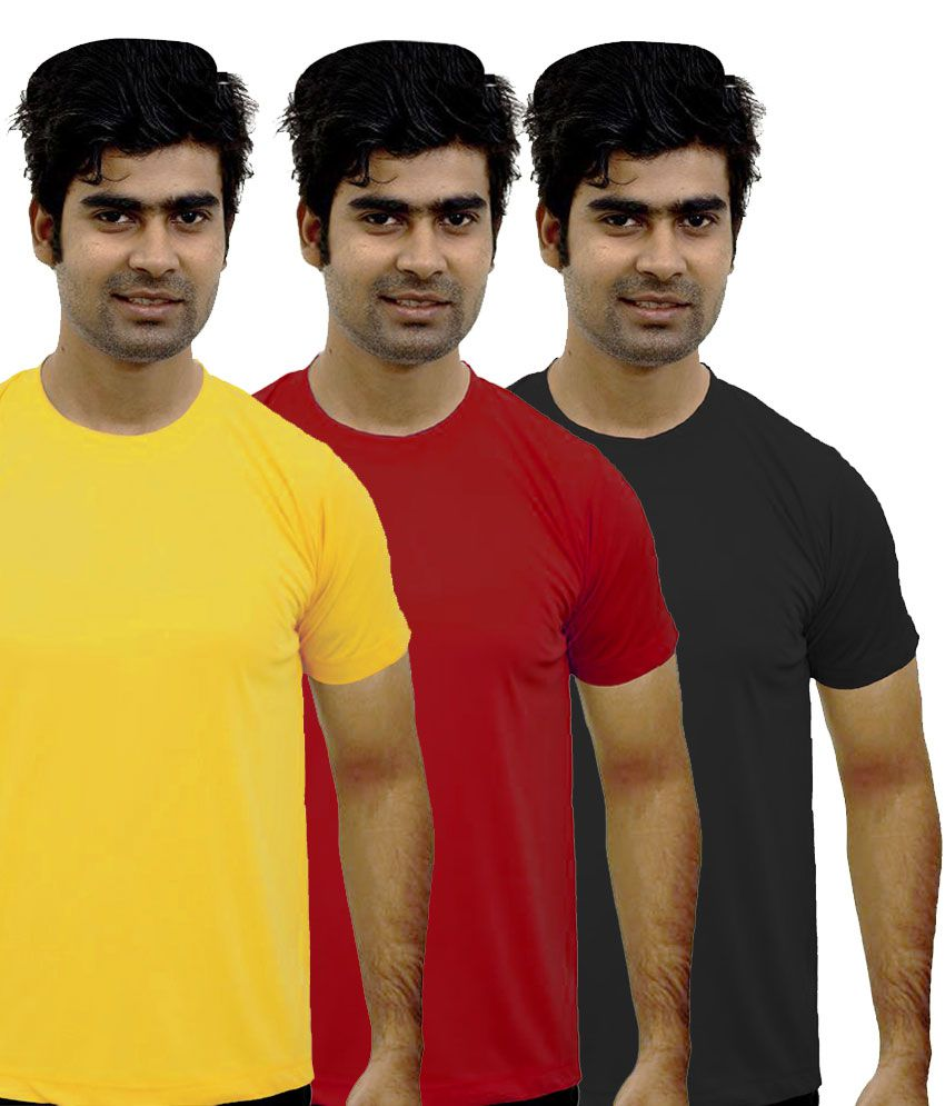 Shopping Monster Combo of 3 Premium Round Neck T-shirts - Yellow, Red & Black