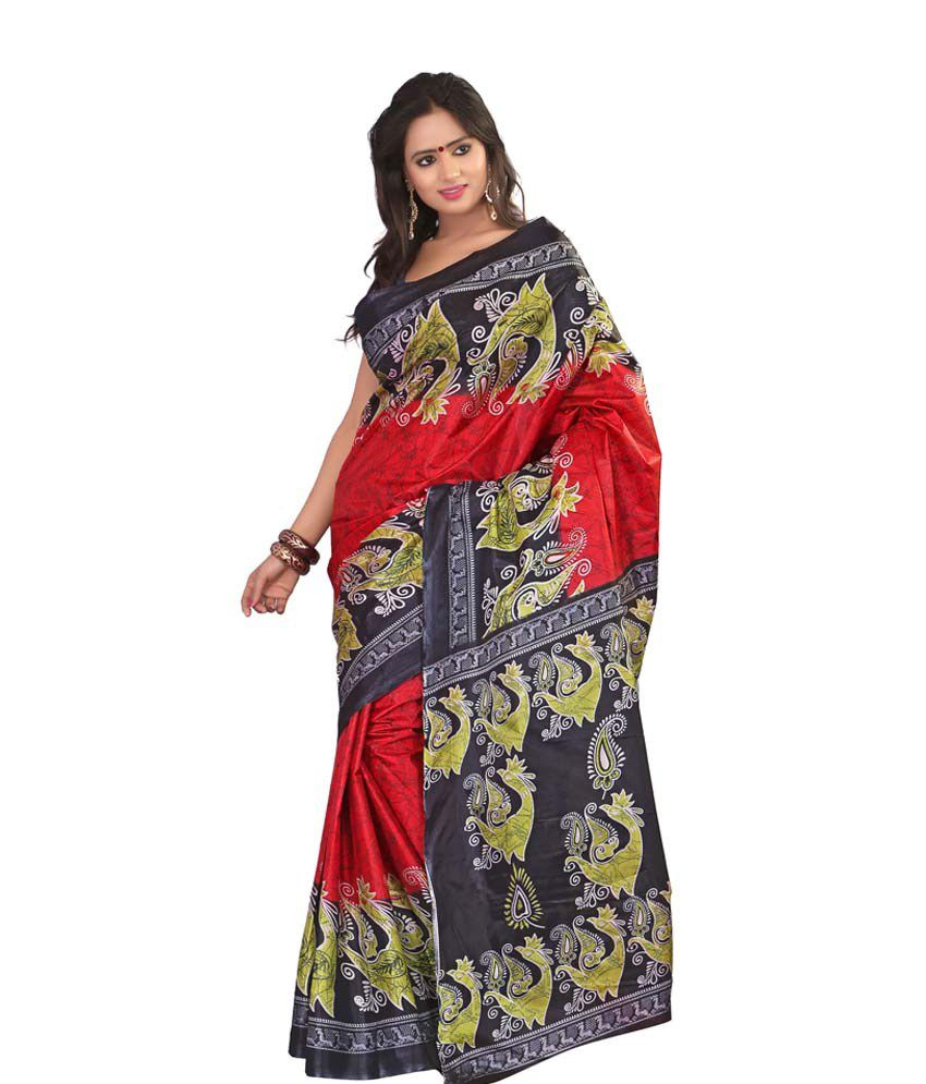 Kajal Awesome Red And Green Colour Art Silk Sarees Set Of 2