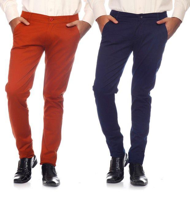 Pazel Blue & Orange Cotton Lycra Combo of 2 Men's Chinos