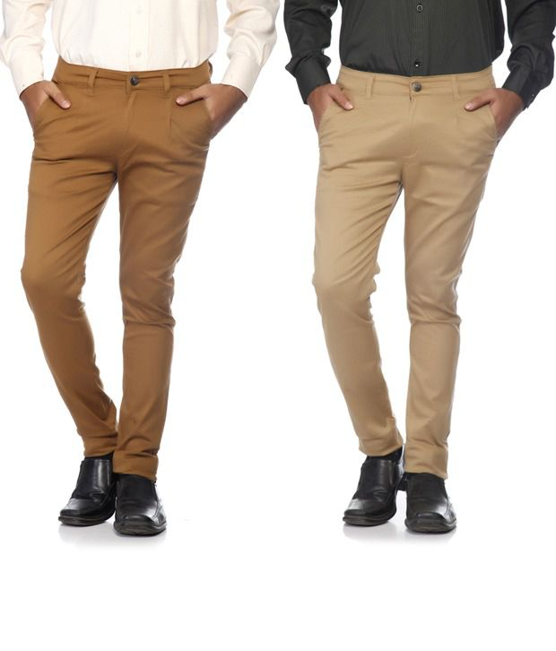 SAM & JAZZ Beige & Brown Cotton   Lycra Combo of 2 Men's  Chinos