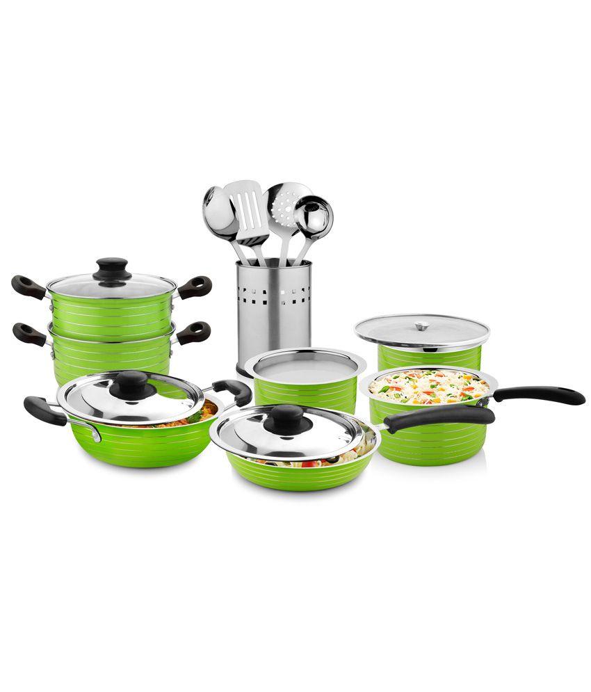 Cookaid green kitchen cookware set of 15 buy online at for Buy kitchen cookware
