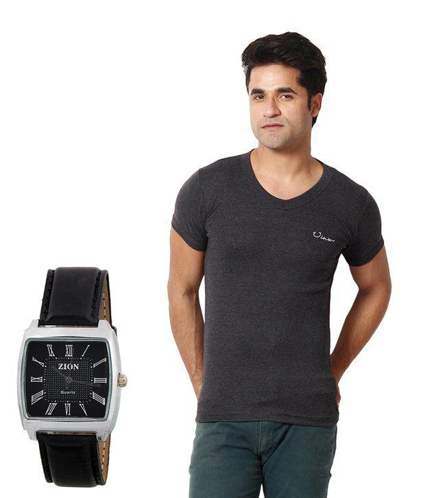 Zion Classic Dark Grey T ShirtWith Free Watch