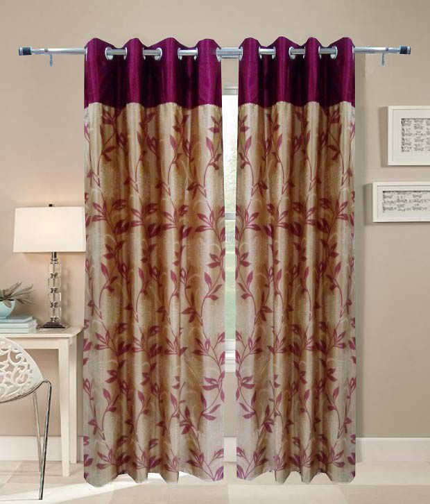 Homefab India Single Window Eyelet Curtain Floral Red