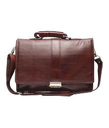 C Comfort Brown Genuine Leather 14 inch Laptop Messenger Bags