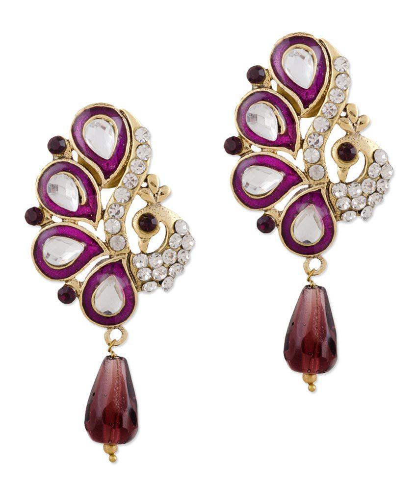 Designer Indian Earrings: Bazarvilla Indian Ethnic Designer Jewelry Earring Set For