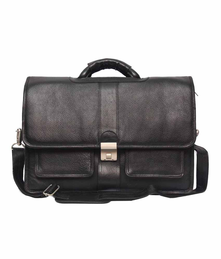 C Comfort Black Leather 15 inch Laptop Messenger Bags