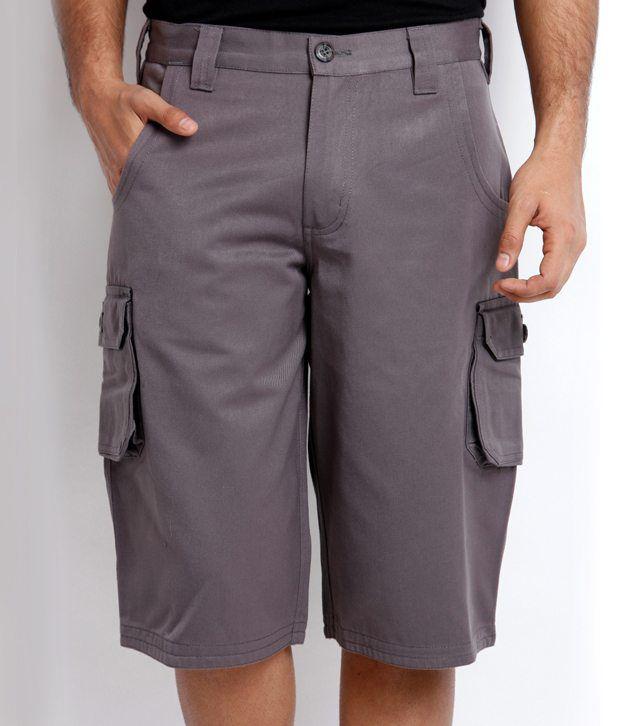 Skookie Dark Gray Cotton Cargo Shorts