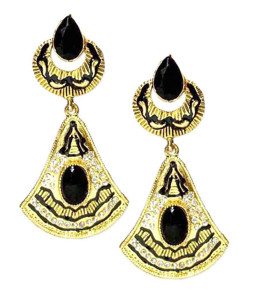 V Fashion Jewelry Stylish Mufti Earrings by VFJ - Black