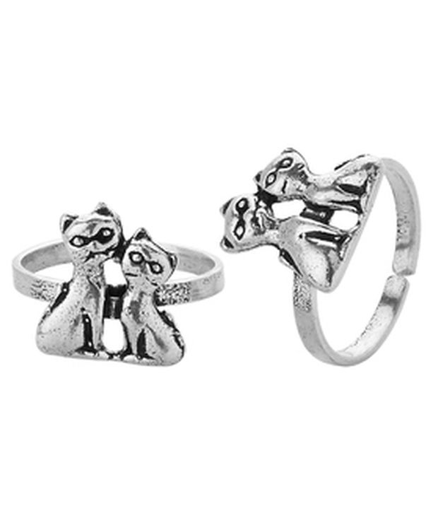 Voylla Silver Plated Toe Ring Pair Studded In Adorable Twin Kitten Design
