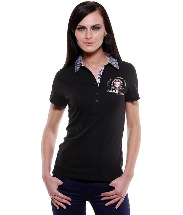 Buy my addiction black cotton polo t shirt online at best for Polo shirt girl addiction