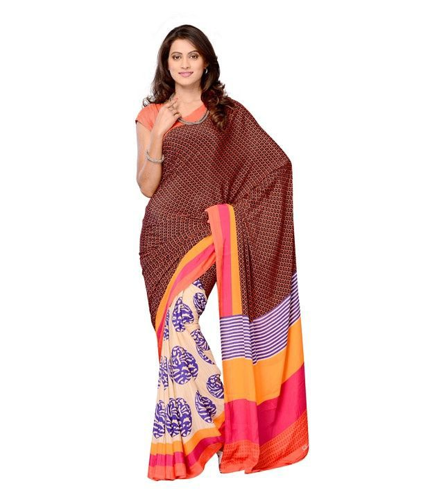 Fabdeal Black & Peach Colour Crepe Printed Saree