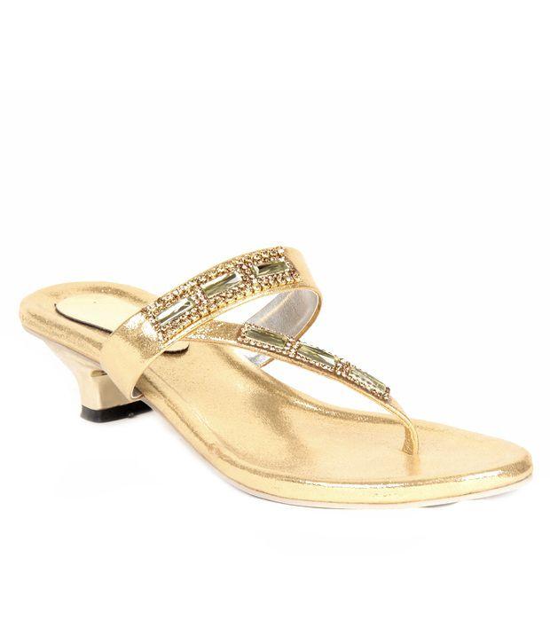 Do Bhai Shoebazaar Sophisticated Gold Heels
