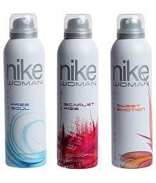 Nike Women Combo Of 3 Deodorants- Free Soul, Scarlet Kiss, Sweet Emotion (200ml Each)