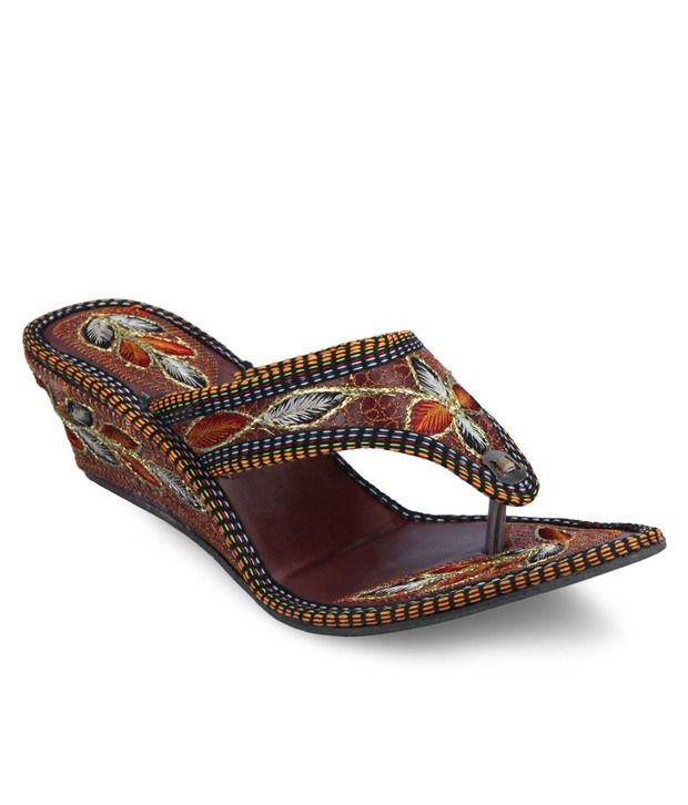 Ethnic Collection Adorable Brown Slip-on Heels with Beautiful Thread Work