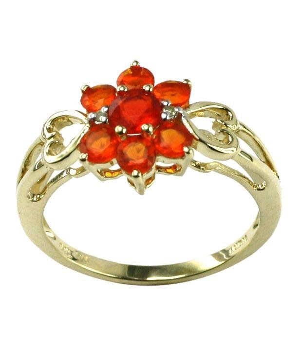 Fire Opal & Diamond 10Kt Yellow Gold Ring