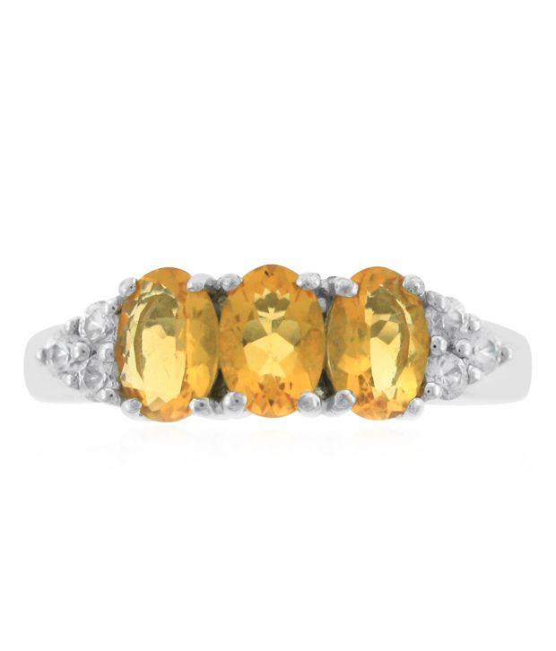 Fire Opal & Zircon Sterling Silver Ring