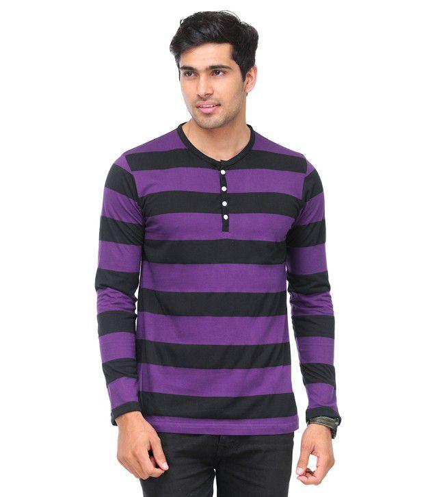 TSX Purple Striped Henley Cotton Blend T Shirt