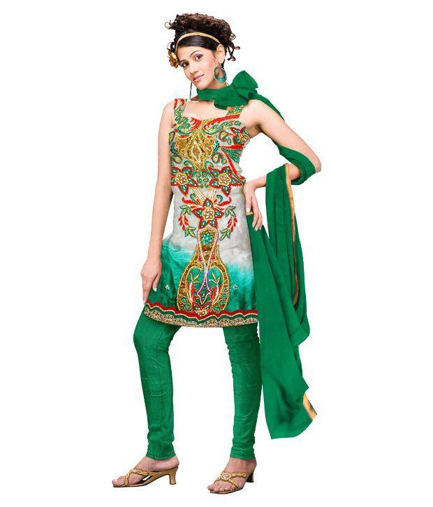 Unnati Silks Grey & Green Pure Tussar Silk Dress Material