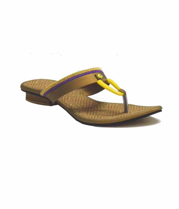 Indirang Fabulous Brown & Yellow Flats