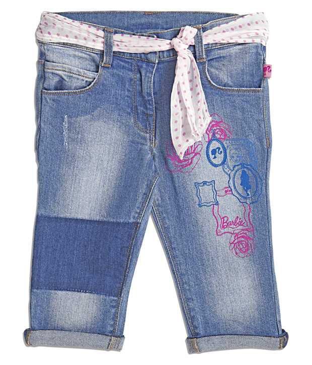 Barbie Solid Printed Blue Color Capri For Kids