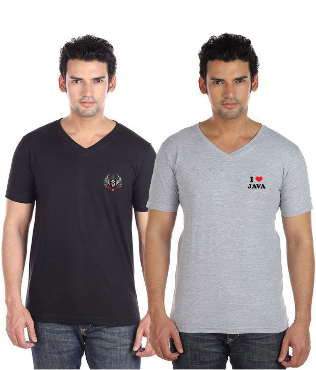 Go Untucked Pack Of Black-Grey V-Neck T Shirts