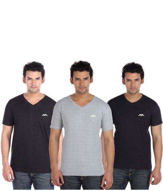Go Untucked Unique Pack Of Black-Grey-Navy Basic V-Neck T-shirt