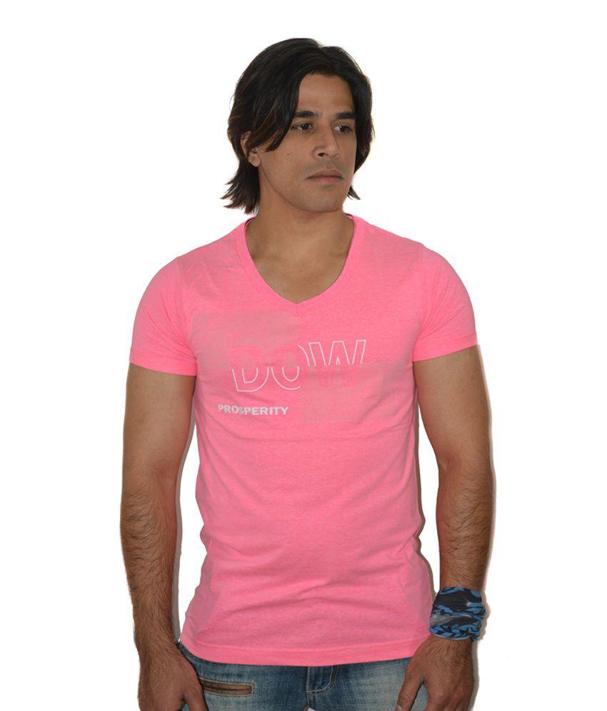 H&F Pink Neon Prosperity Print T Shirt