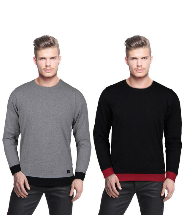 Rigo Cool Pack Of 2 Grey-Black T Shirts