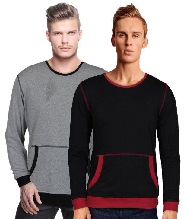 Rigo Modern Pack Of 2 Kangaroo Pocket Black-Grey T Shirts
