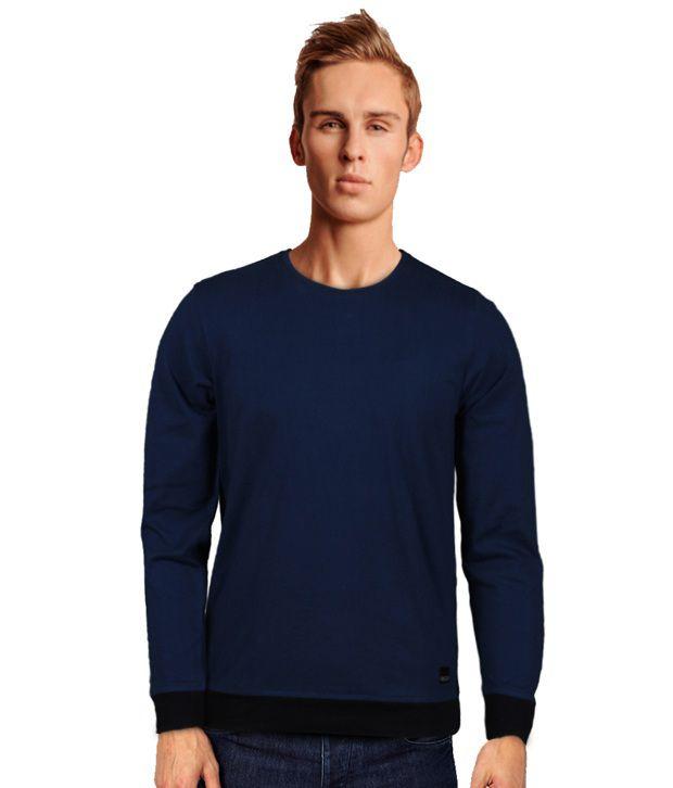 Rigo Stylish Dark Blue T-Shirt With Black Cuffs