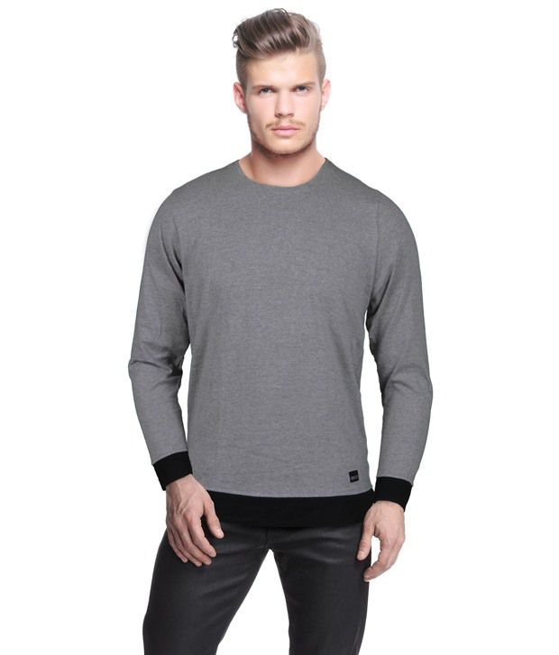 Rigo Stylish Grey Melange T-Shirt With Black Cuffs