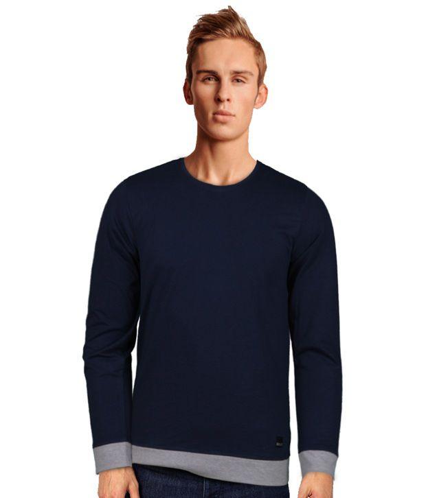 Rigo Stylish Navy T-Shirt With Grey Cuffs