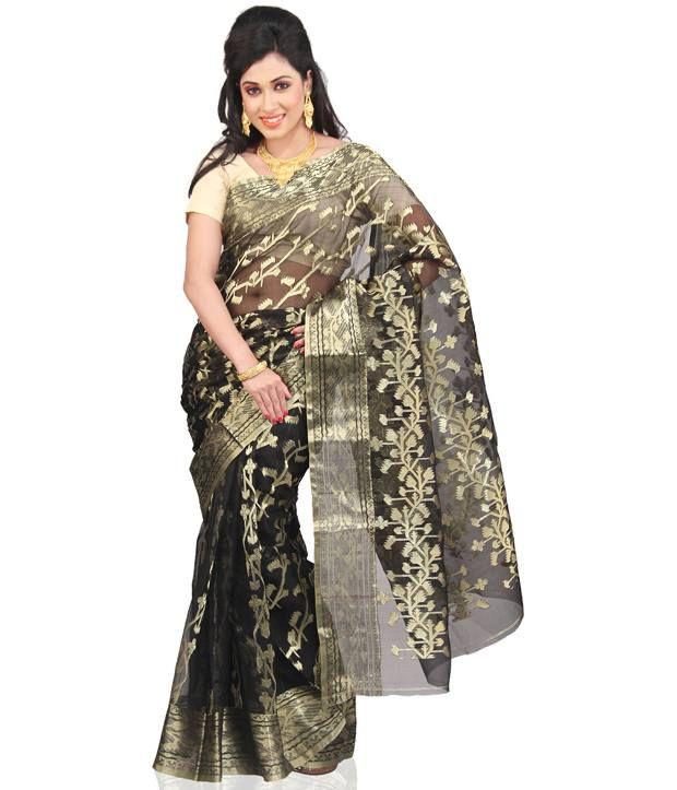 0470526d9aa43 Utsav Fashion Grey and Beige Dhakai Jamdani Handloom Pure Muslin Silk Saree  with Blouse - Buy Utsav Fashion Grey and Beige Dhakai Jamdani Handloom Pure  ...