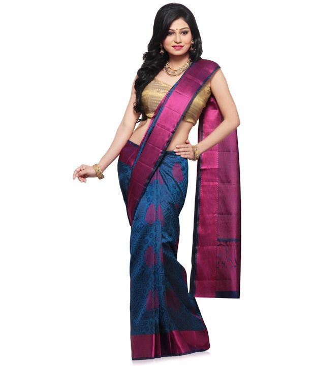 5b7633d1e6d2c3 Utsav Fashion Dark Blue Pure Kanchipuram Handloom Silk Saree with Blouse -  Buy Utsav Fashion Dark Blue Pure Kanchipuram Handloom Silk Saree with Blouse  ...
