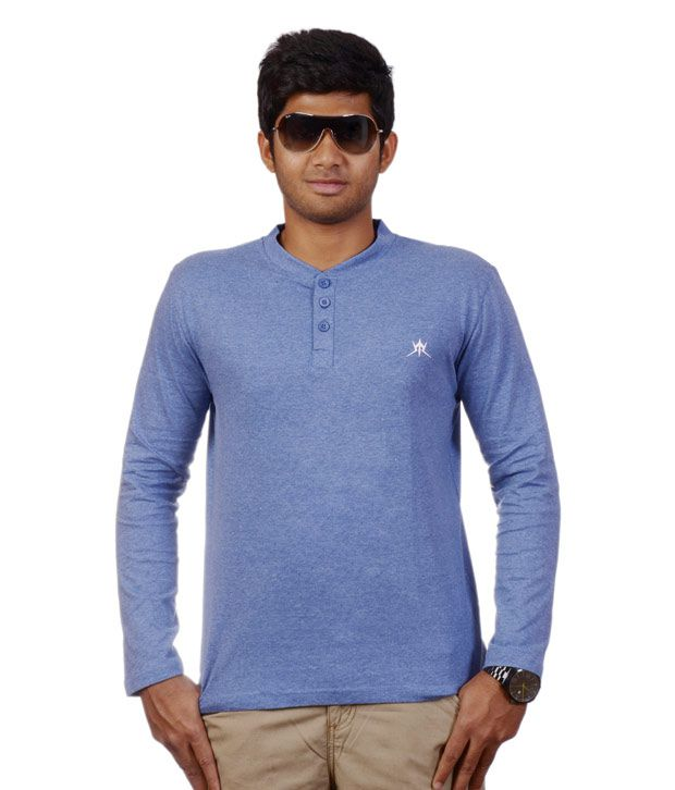 Tyche Henley Neck Blue T-Shirt for Men