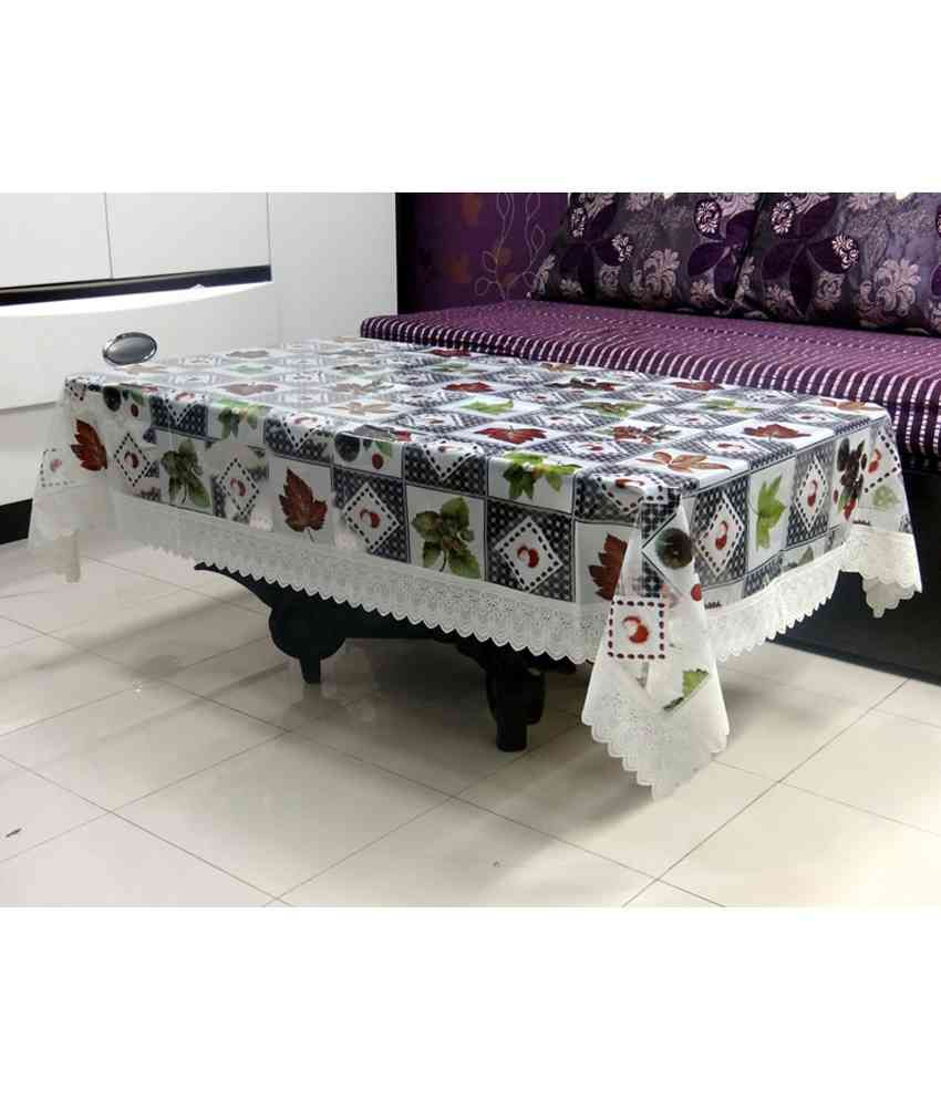 Katwa Clasic 40 inchesX 60 inches Clear Printed With Lace Tablecloth