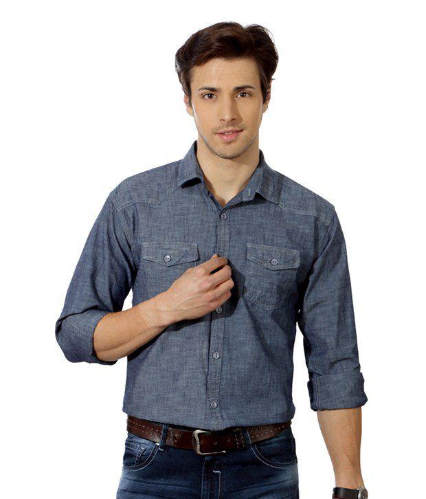 Street Junkies Smart Indigo Blue Shirt