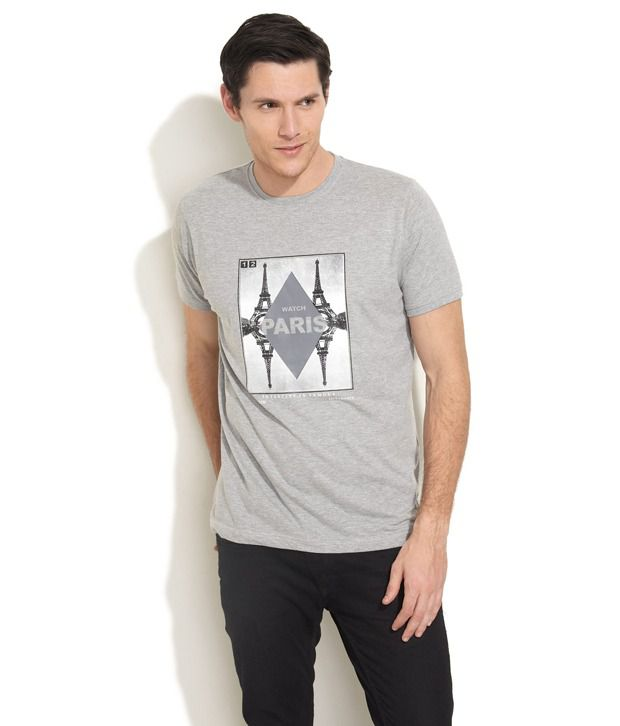 27Ashwood Trendy Gray Printed T Shirt