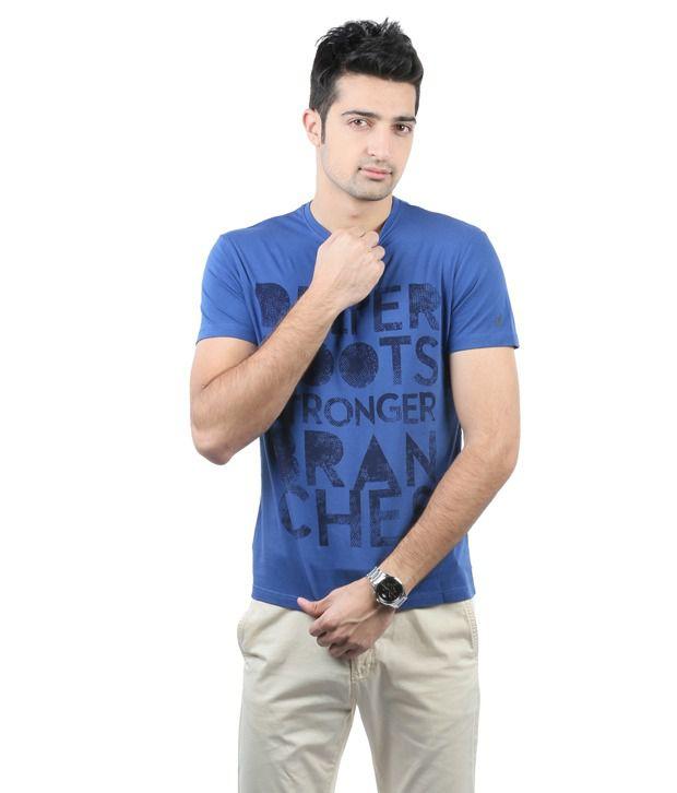 Blumerq Blue Printed T Shirt