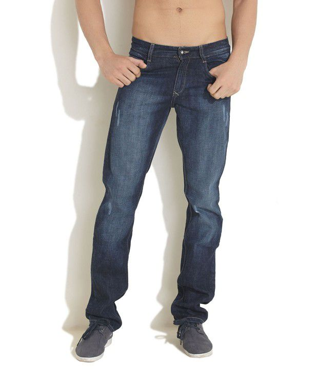 John Players Blue Faded Casual Jeans