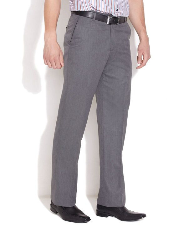 John Players Gray Poly Viscose Trousers