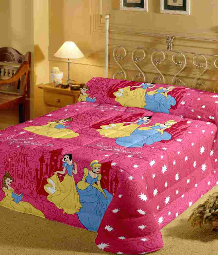 Bed sheets with price - Cartoon Prints Beautiful Princess Single Bed Sheet With Pillow Cover 220 Tc