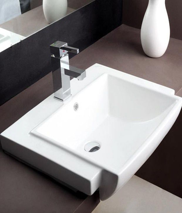 buy hindware wash basin semi recessed tessa white 91055 91055 rh snapdeal com